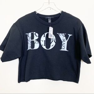 FOREVER 21 Boy Crazy Cropped Sweatshirt, Small